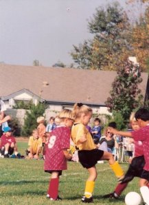 Me (in yellow), where I felt the most confident - on the soccer field.
